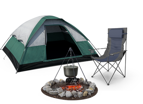 Camping 3d illustration